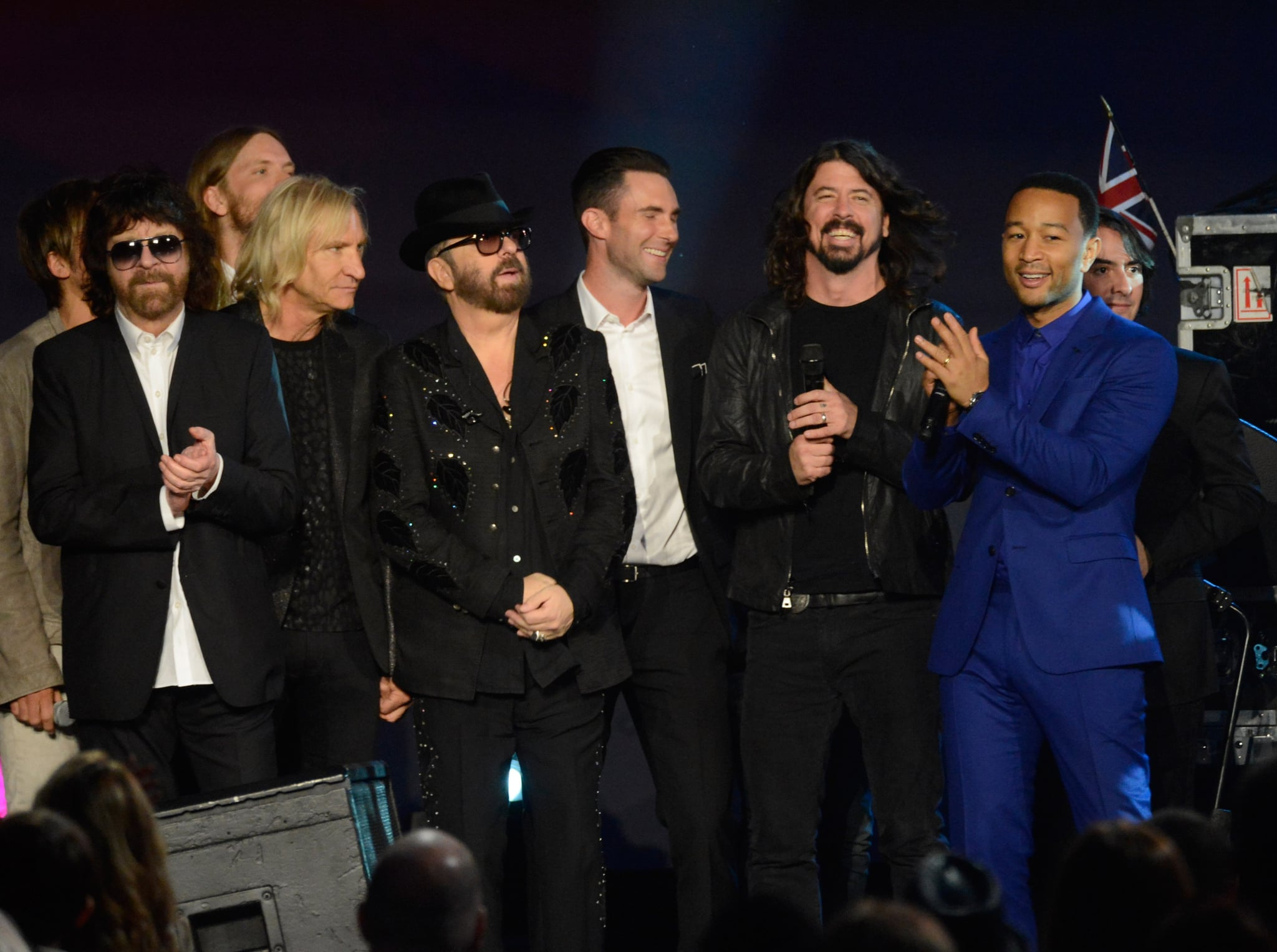 Adam Levine, Dave Grohl, and John Legend met up with other music legends on stage.