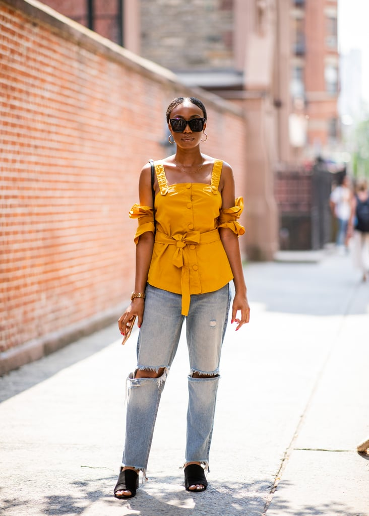Go flirty on top with a sweet blouse in a bright hue