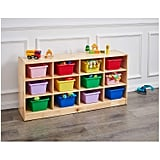 AmazonBasics Wooden 12-Section Horizontal Storage Organiser