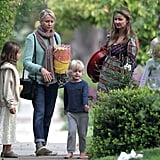 Naomi Watts took her sons, Sasha and Kai, on an Easter egg hunt in LA.