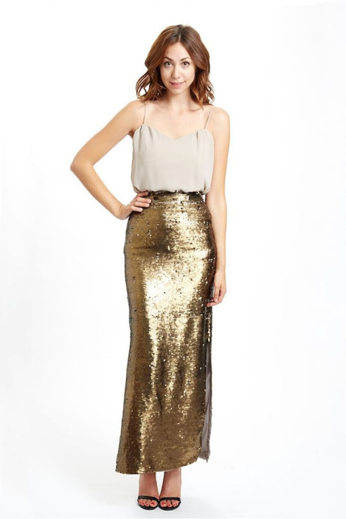 'Tis the season for sparkle, so I am excited to wear sequins! This year I am loving two-sided sequins and the more matte options. I am in love with the Paper Crown sequin skirt ($315) in our Holiday collection.