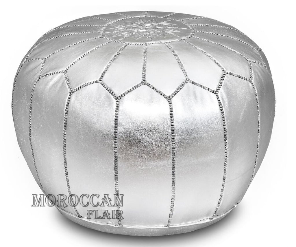 Moroccan Flair Metallic Leather Moroccan Pouf in Silver