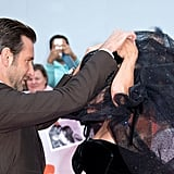Bradley even helped Gaga get her insane veil up!