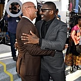 Dwayne Johnson and Idris Elba shared a friendly hug at the LA premiere of Hobbs and Shaw in July 2019.