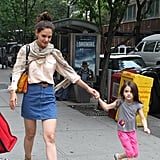 Suri was ready to run in NYC with her mom Katie Holmes.