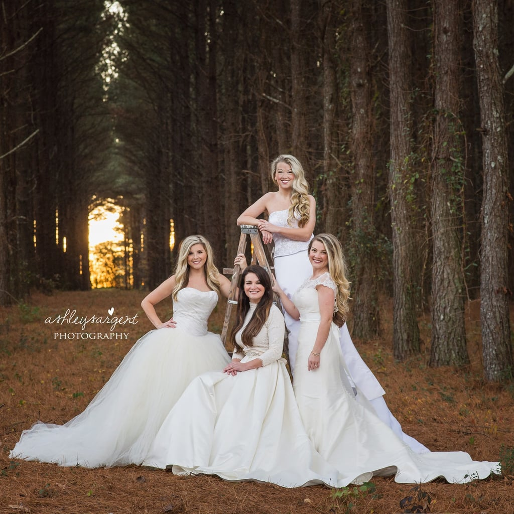 Sisters Wear Their Old Wedding Dresses For Photo Popsugar Moms