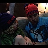 "Bronx and Pete Wentz showed off their ""Best Friend"" caps from the Target/Neiman Marcus collaboration. Source: Instagram user petewentz"