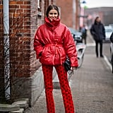 Winter Outfit Idea: A Bright Red Jacket and Pants to Match