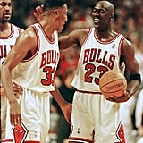 Michael Jordan and Scottie Pippen During a First Round Play-Off Game in 1998