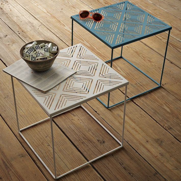 The chic little Euclid Side Table ($50) is made from powder-coated steel and begging to be used in triplicate.