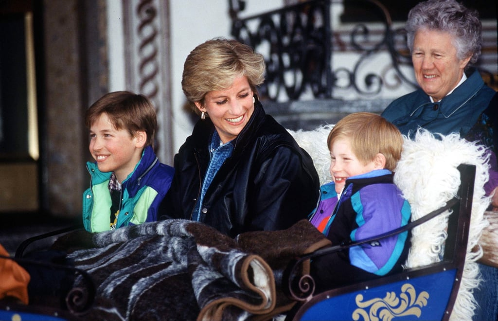 The two shared a laugh during a carriage ride in Lech, Austria, in March 1993.