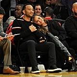 Chrissy Teigen and John Legend at LA Lakers Game Nov. 2017
