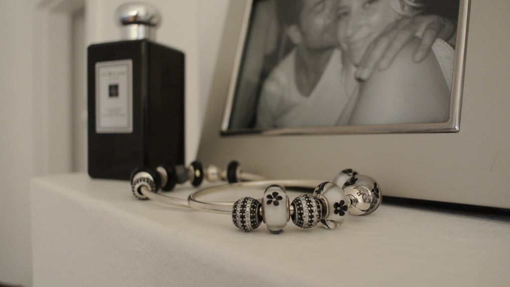 Beside the delicious Jo Malone Velvet Rose & Oud fragrance are a couple of my favourites from PANDORA's latest collection. PANDORA sterling silver bracelet, $89, striped pave charms, $69 each and sterling silver clips, $39 each. Cute fiancé in picture, priceless.