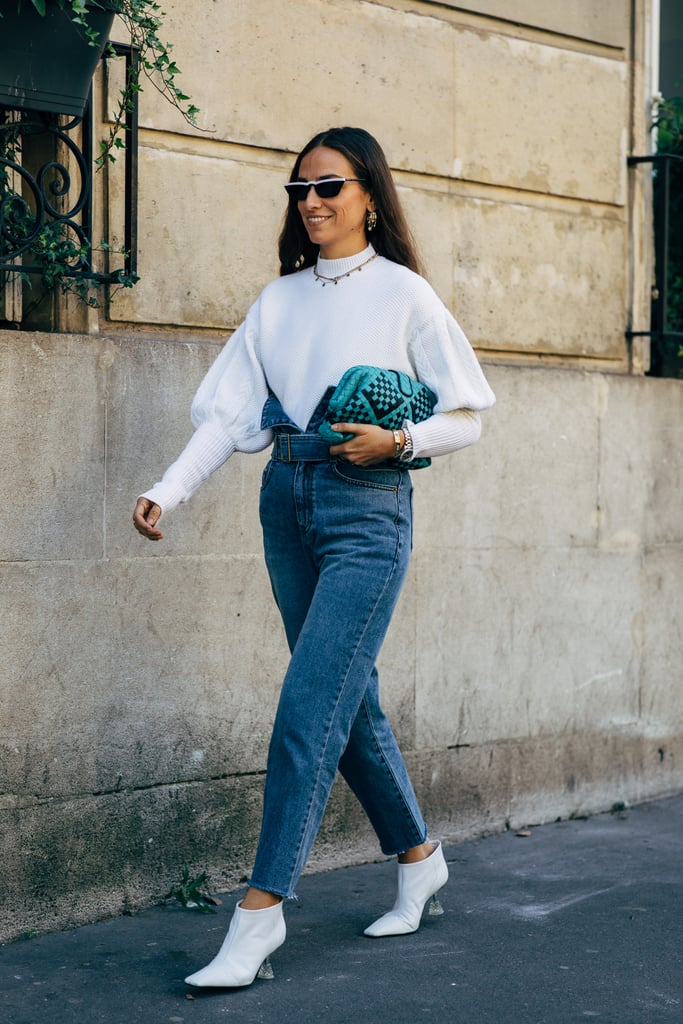 Add Dimension to Your Look When You Work Your High-Waisted Denim With Bishop Sleeves
