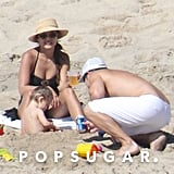 Nick and Vanessa Lachey built sandcastles with their son, Camden.