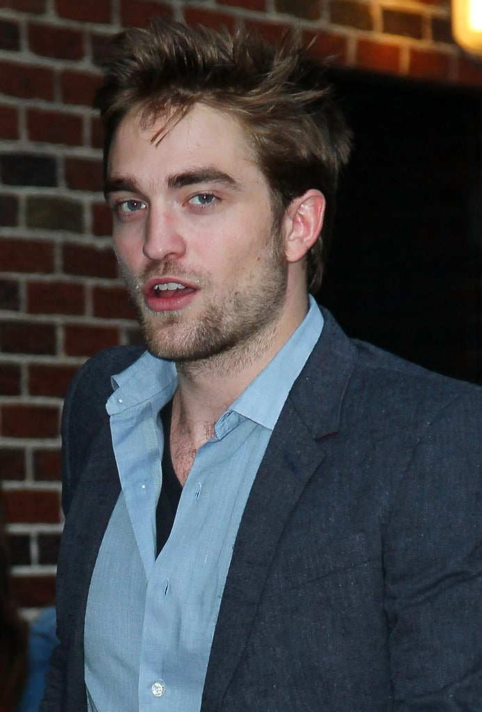 Robert wore a blue shirt for his Late Show appearance.