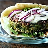 Quinoa-Chickpea Burgers With Pickled Onions and Tahini Sauce