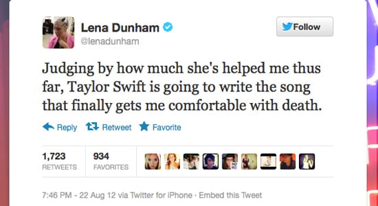 Girls creator, actress, producer and director Lena Dunham gets by with the help of Taylor Swift.