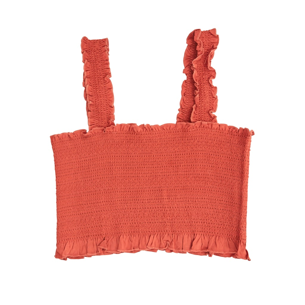 Rust Cropped Y-Back Smocked Tank Top