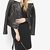 Michael Kors Shearling-Collar Leather Moto Jacket ($495)