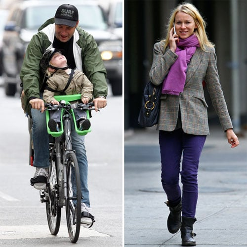 Liev and Samuel Take a Sweet Bike Ride While Naomi Chats on Foot