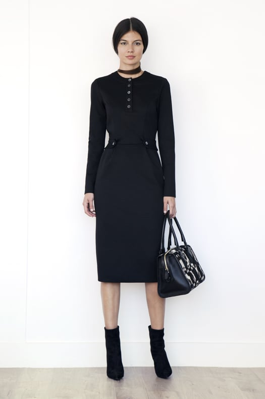 Henley Long-Sleeved Wool Ponte Dress in Black ($695), Rebel Suede Bootie in Black Suede ($895), Seductive Pony Satchel in Grey/Black Leopard Patchwork ($1,495)  Photo courtesy of Tamara Mellon