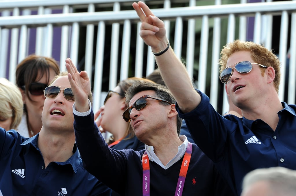Prince Harry and Prince William pointed during the equestrian event.
