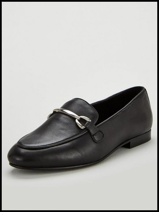 V by Very Magpie Leather Snaffle Trim Loafers
