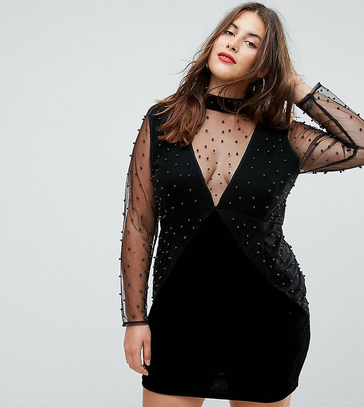Boohoo Mesh Sleeve Bodycon Dress | Plus-Size Holiday Dresses ...
