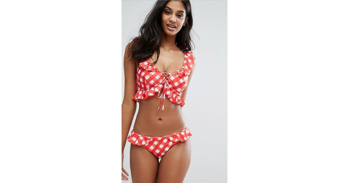 08c6f6d03f ASOS Fuller Bust Gingham Frill Bikini Top