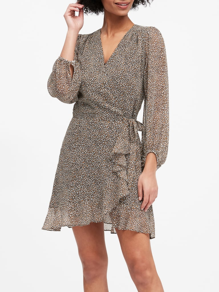 Banana Republic Ruffle Wrap Dress Best Leopard Print