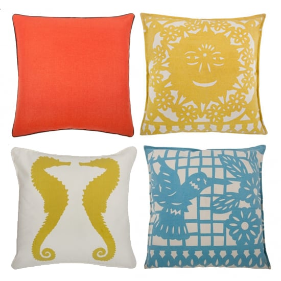 Thomas Paul Outdoor Pillows, clockwise from top left: Solid LInen Pillow in Coral, $100; Mod Mex Sun Pillow, $80; Seahorses Pillow,$80; Mod Mex Hummingbird Pillow, $80
