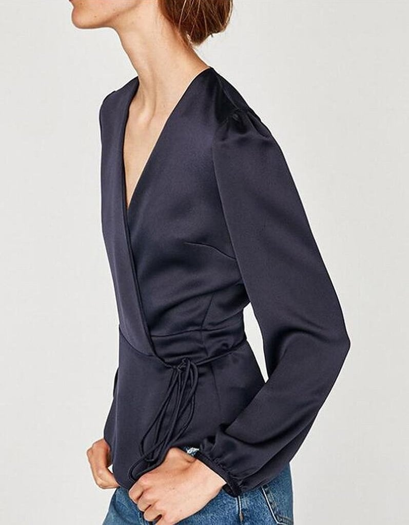 Ouxiuli Long-Sleeved Wrap Blouse