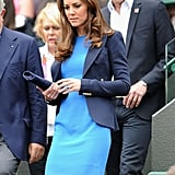 On Thursday August 2 at Wimbledon watching the tennis, Kate Middleton donned the bold blue Stella McCartney dress she wore to the National Portrait Gallery the week before.
