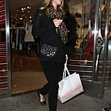 Nicky Hilton stepped up an all-black look with a crossbody bag and a little leopard.