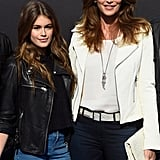 Cindy Crawford and Kaia Gerber Wearing Contrasting Leather Jackets in 2015