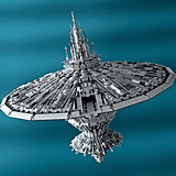 "The Enterprise and the Death Star combined are no match to Garry King's ""Cetanclass Baseship."" Source: Cetanclass Baseship (2012) © Garry King"