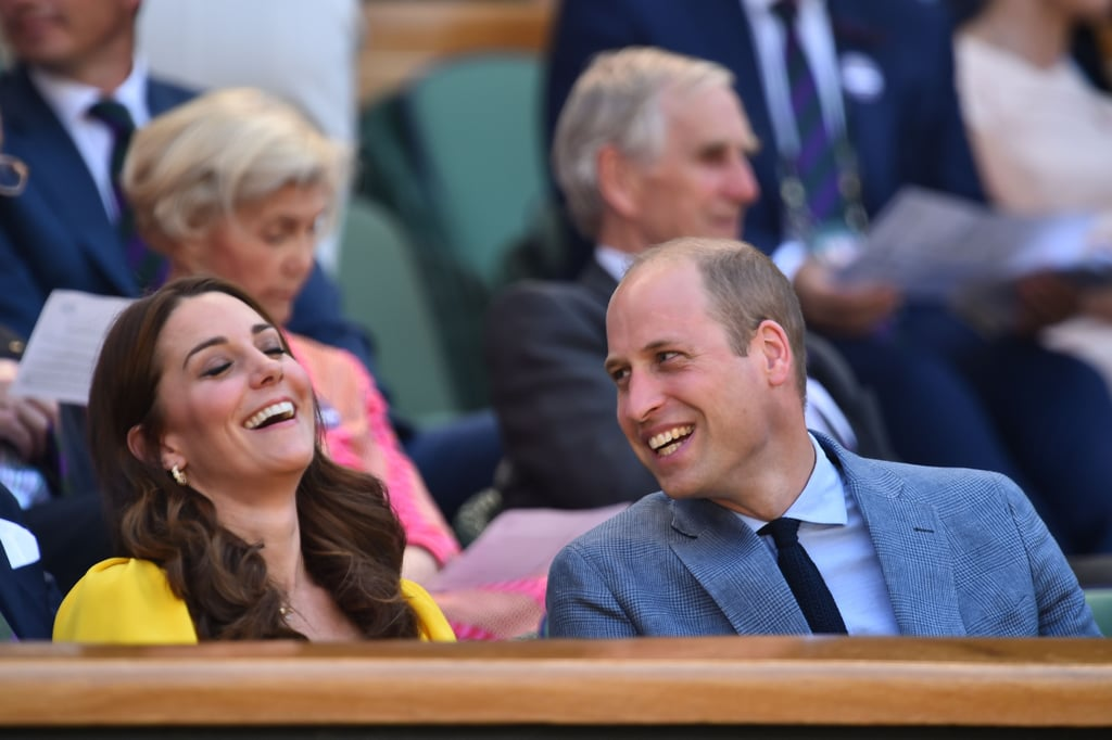 It's a royal day date! The Duke and Duchess of Cambridge took their annual trip to Wimbledon on July 15 to watch the Men's Singles final, and there were plenty of giggles all around.  For Kate, this is Wimbledon part two, since she attended the Women's Singles final with new sister-in-law Meghan Markle the day before. She basically radiated sunshine in her bright yellow dress, while laughing out loud with her husband. The couple left their three children George, Charlotte, and Louis at home, to spend a little time alone together. Ahead, see even more snaps of their romantic outing. From the looks of their contagious smiles, the date was well worth it.       Related:                                                                                                           Is It Just Us or Do the Duke and Duchess of Cambridge Look More in Love Than Ever?