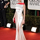 Angelina Jolie showed a glimpse of leg on the red carpet.