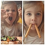 "Harper Smith did her best ""crouching tiger, hidden walrus"" impression for her mom, Tiffani Thiessen. Source: Instagram user tathiessen"