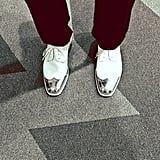 We don't know what the suit and tie will look like, but Justin Timberlake gave us a snap of his metallic oxfords. Source: Instagram user justintimberlake