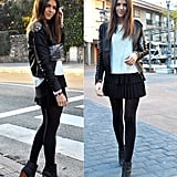 The perfect way to take your pleated mini from day to night, Winter to early Spring: add tights and a go-with-anything knit, and style it up with ankle boots and an embellished leather jacket.   Photo courtesy of Lookbook.nu