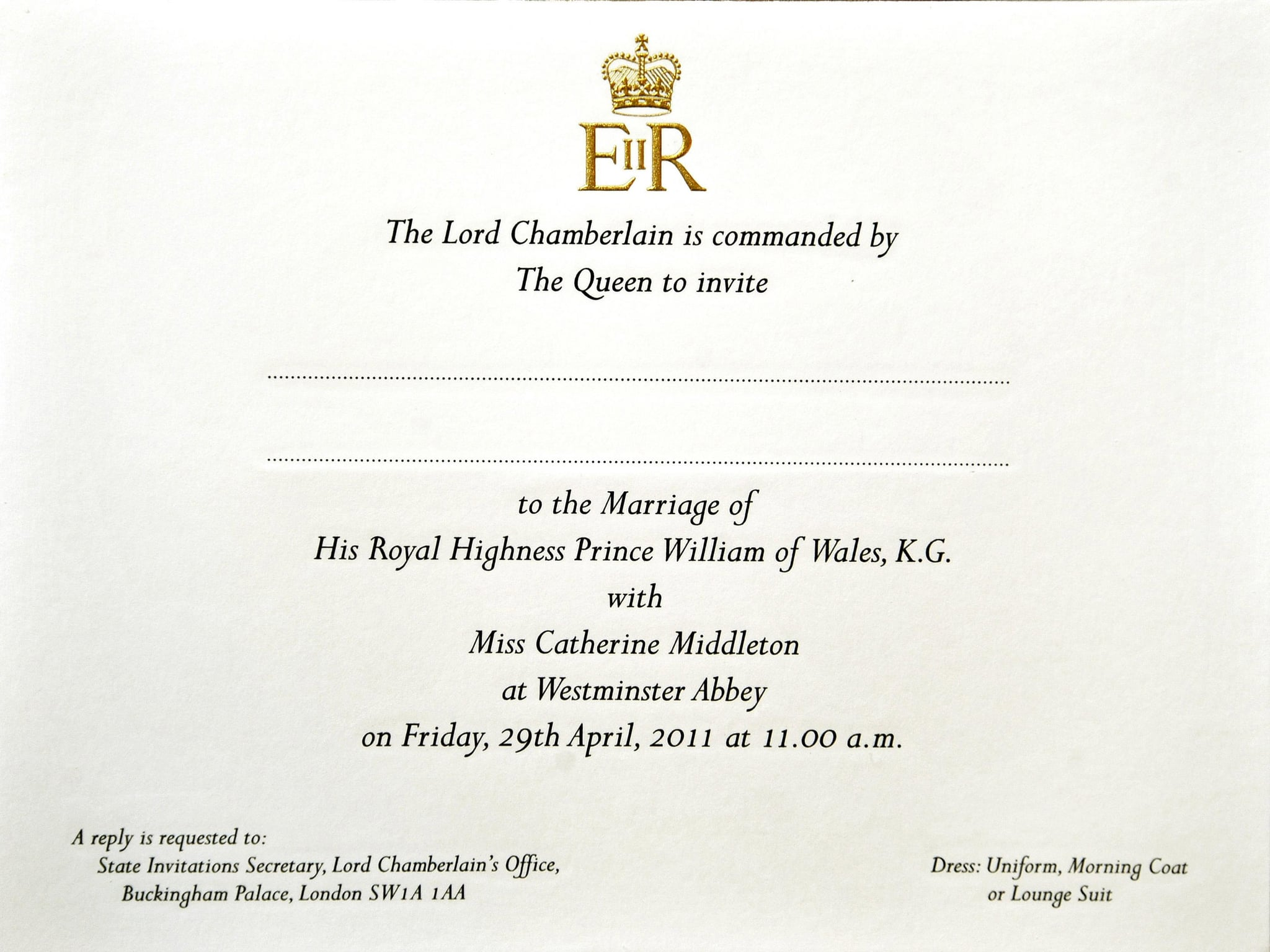 LONDON - FEBRUARY 16: Prince William and Kate Middleton's wedding  invitation as they are prepared for postage at Buckingham Palace, on February 16, 2011 in London, England. The wedding will take place on April 29, at Westminster Abbey.  (Photo by John Stillwell - WPA Poo//Getty Images)