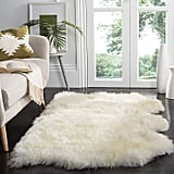 Safavieh Sheepskin Collection SHS211A Genuine Sheepskin Pelt Handmade White Premium Shag Rug