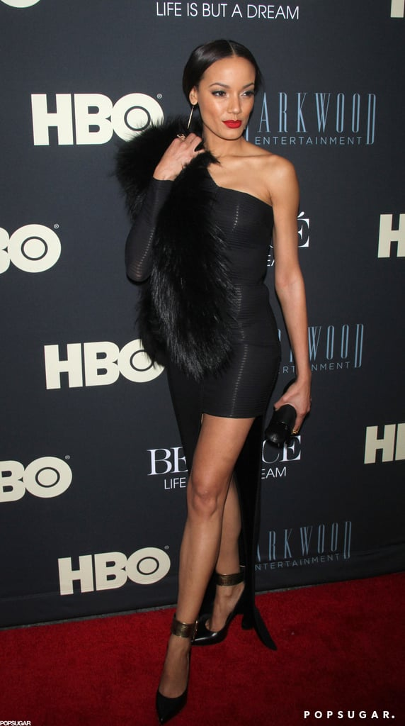 Selita Ebanks wore fur on the red carpet.