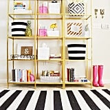 The find: this black-and-white-striped rug.