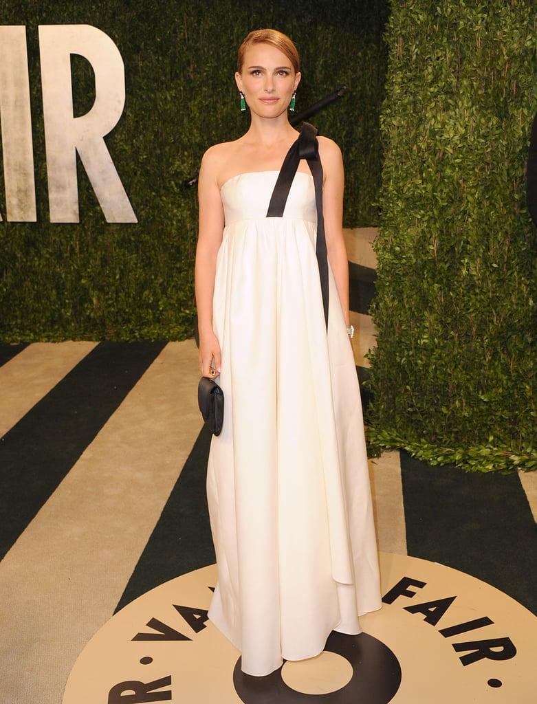 Natalie Portman in White Christian Dior Gown at Vanity Fair\'s 2013 ...