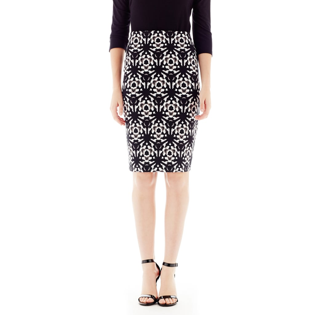 Pick up a pretty patterned pencil skirt ($29) like this Joe Fresh style.