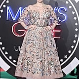 She wore a Zuhair Murad embellished gown to the 2017 premiere of Molly's Game in London, England.