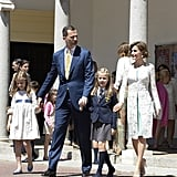 The royal family was all smiles after the First Communion of Princess Leonor of Spain in May.